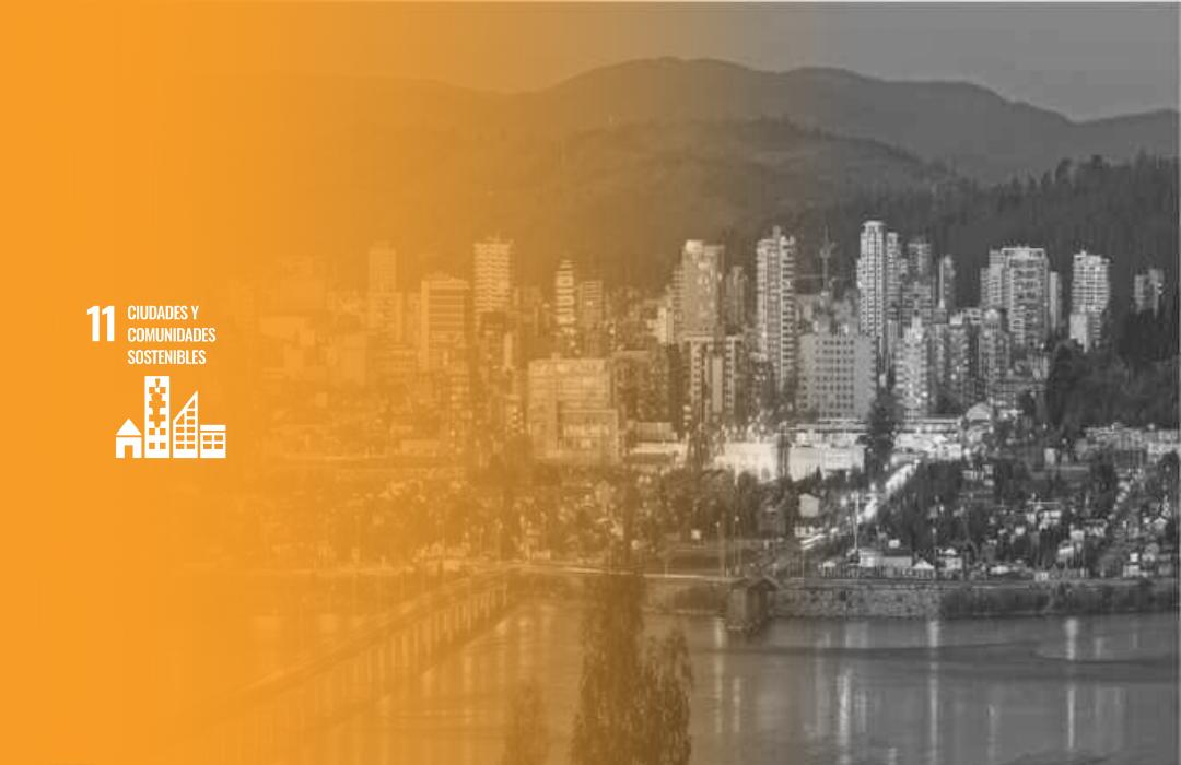 ciudad en blanco y negro de fondo, por encima logo de ODS 11, ciudades y comunidades sostenibles